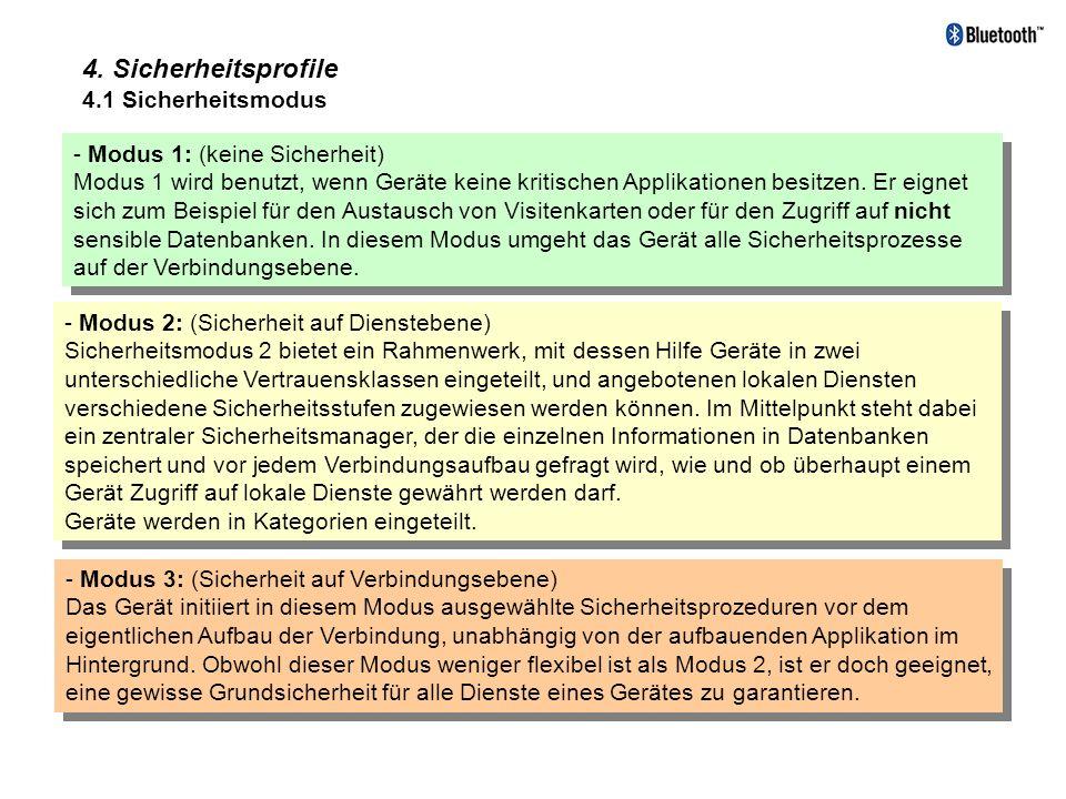 4. Sicherheitsprofile 4.1 Sicherheitsmodus - Modus 1: (keine Sicherheit) Modus 1 wird benutzt, wenn Geräte keine kritischen Applikationen besitzen. Er