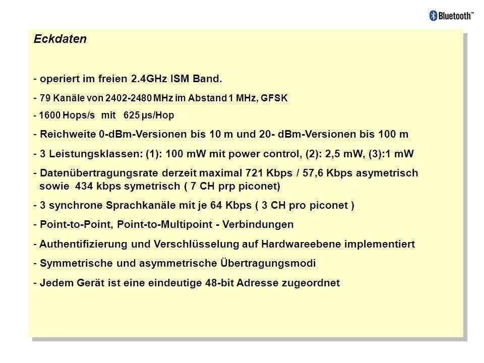 Eckdaten - operiert im freien 2.4GHz ISM Band. - 79 Kanäle von 2402-2480 MHz im Abstand 1 MHz, GFSK - 1600 Hops/s mit 625 µs/Hop - Reichweite 0-dBm-Ve