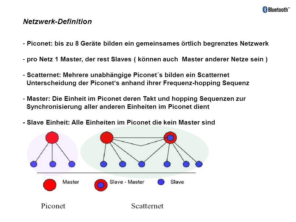 Netzwerk-Definition - Piconet: bis zu 8 Geräte bilden ein gemeinsames örtlich begrenztes Netzwerk - pro Netz 1 Master, der rest Slaves ( können auch M