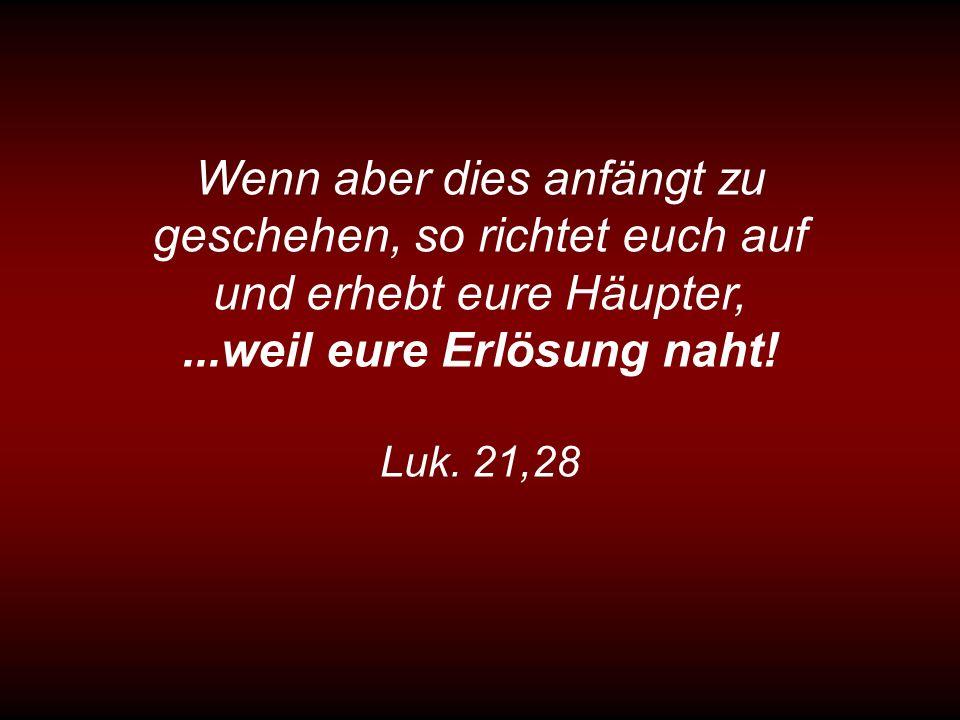 Wenn aber dies anfängt zu geschehen, so richtet euch auf und erhebt eure Häupter,...weil eure Erlösung naht! Luk. 21,28