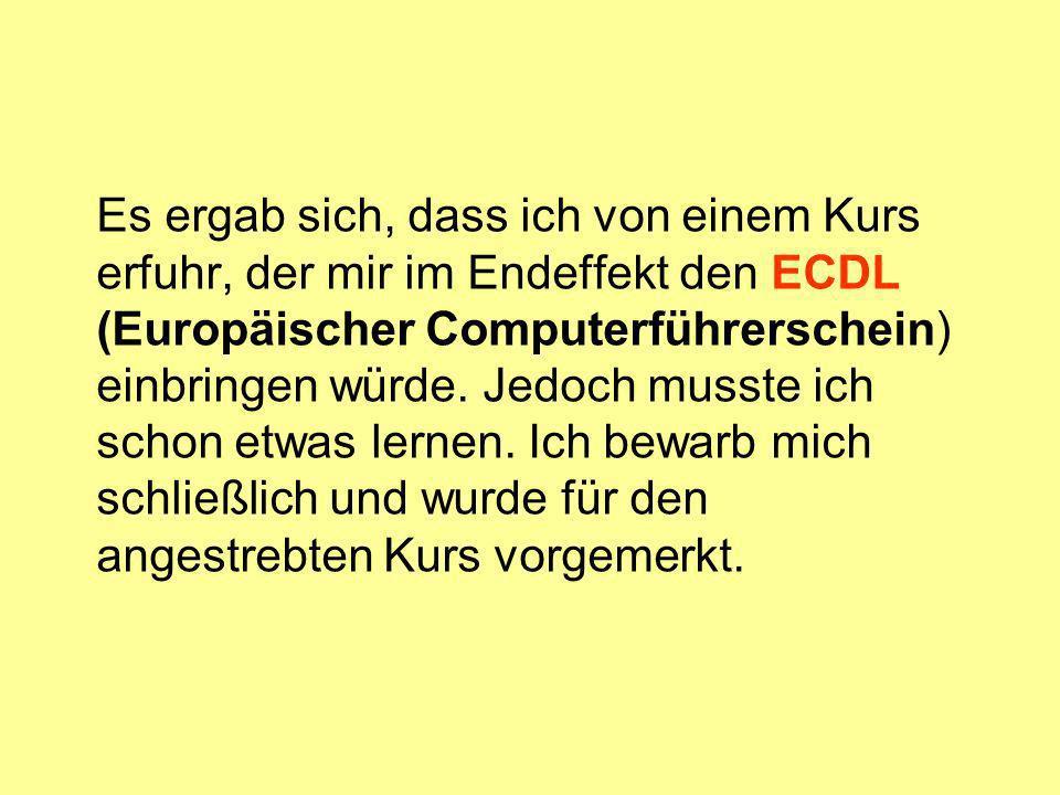 Es ergab sich, dass ich von einem Kurs erfuhr, der mir im Endeffekt den ECDL (Europäischer Computerführerschein) einbringen würde.
