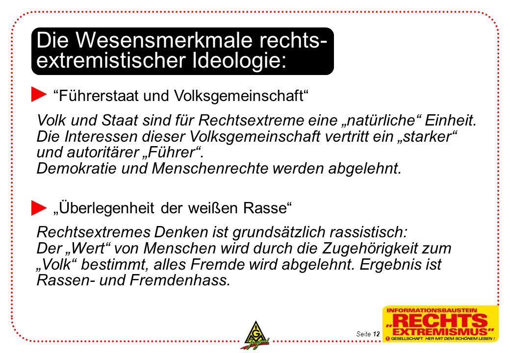 Die Wesensmerkmale rechts- extremistischer Ideologie: Führerstaat und Volksgemeinschaft Volk und Staat sind für Rechtsextreme eine natürliche Einheit.