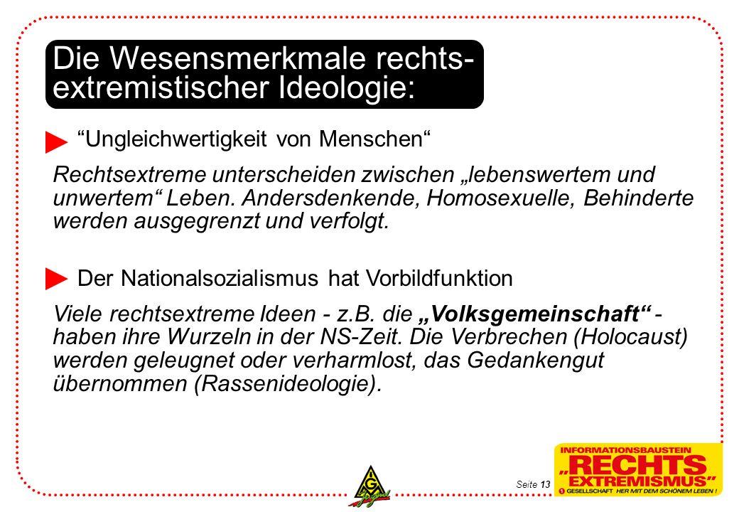 Die Wesensmerkmale rechts- extremistischer Ideologie: Ungleichwertigkeit von Menschen Rechtsextreme unterscheiden zwischen lebenswertem und unwertem L
