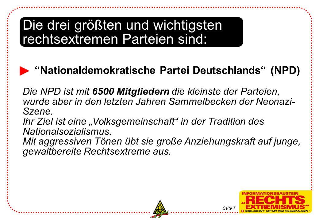 Die drei größten und wichtigsten rechtsextremen Parteien sind: Nationaldemokratische Partei Deutschlands (NPD) Die NPD ist mit 6500 Mitgliedern die kl