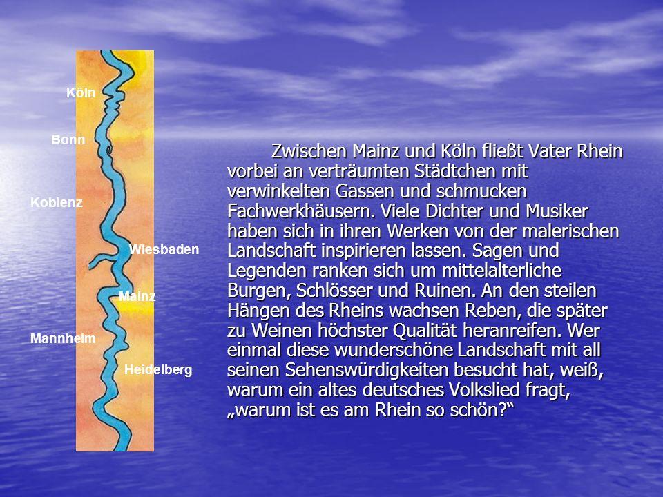 Zwischen Mainz und Köln fließt Vater Rhein vorbei an verträumten Städtchen mit verwinkelten Gassen und schmucken Fachwerkhäusern. Viele Dichter und Mu