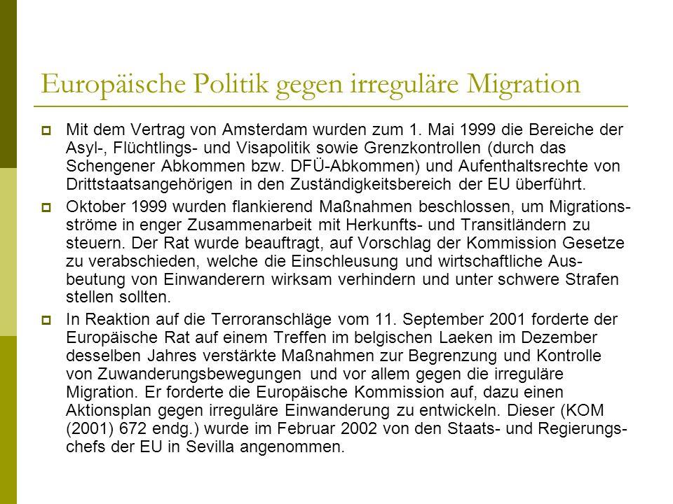 Europäische Politik gegen irreguläre Migration Mit dem Vertrag von Amsterdam wurden zum 1. Mai 1999 die Bereiche der Asyl-, Flüchtlings- und Visapolit