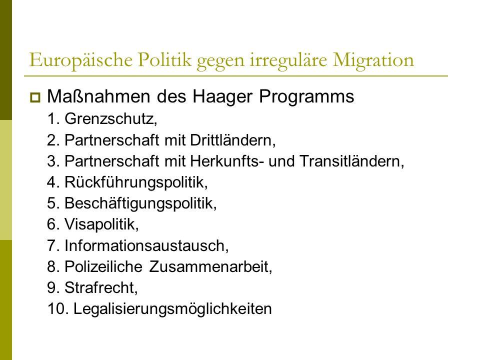 Europäische Politik gegen irreguläre Migration Maßnahmen des Haager Programms 1. Grenzschutz, 2. Partnerschaft mit Drittländern, 3. Partnerschaft mit