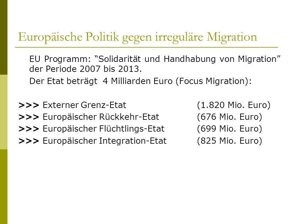 Europäische Politik gegen irreguläre Migration EU Programm: Solidarität und Handhabung von Migration der Periode 2007 bis 2013. Der Etat beträgt 4 Mil