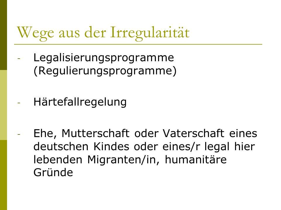 Wege aus der Irregularität - Legalisierungsprogramme (Regulierungsprogramme) - Härtefallregelung - Ehe, Mutterschaft oder Vaterschaft eines deutschen
