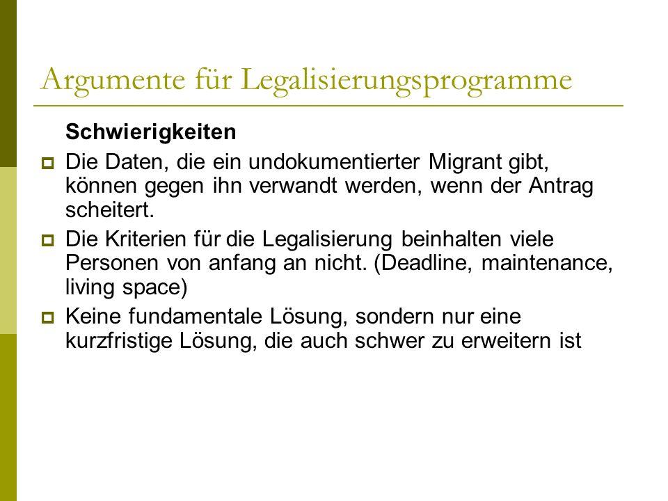 Argumente für Legalisierungsprogramme Schwierigkeiten Die Daten, die ein undokumentierter Migrant gibt, können gegen ihn verwandt werden, wenn der Ant