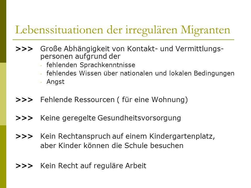 Lebenssituationen der irregulären Migranten >>>Große Abhängigkeit von Kontakt- und Vermittlungs- personen aufgrund der - fehlenden Sprachkenntnisse -