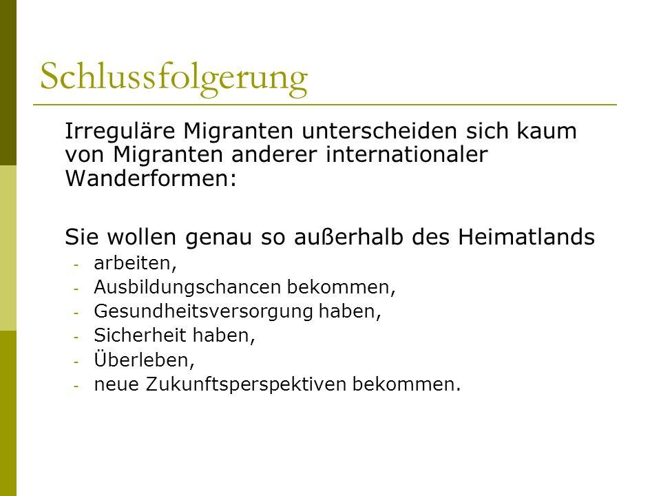 Schlussfolgerung Irreguläre Migranten unterscheiden sich kaum von Migranten anderer internationaler Wanderformen: Sie wollen genau so außerhalb des He