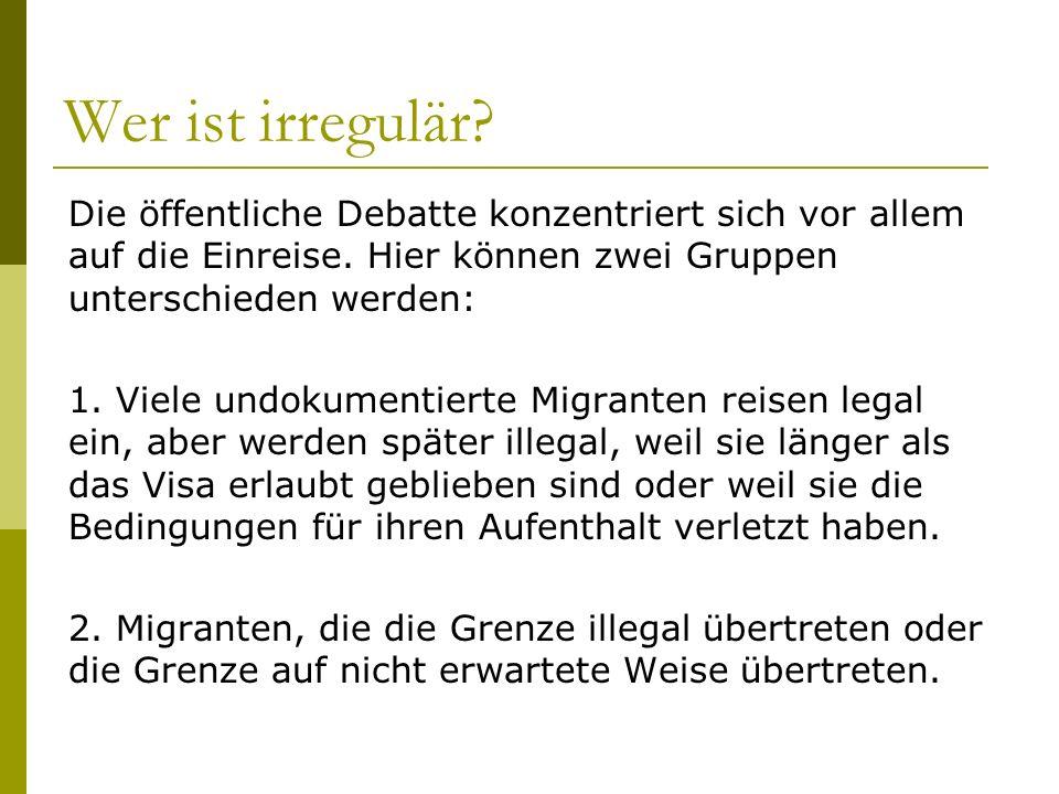 Irreguläre Migration und Arbeitsmarkt Ausbeutung und Abhängigkeit prägen in der Regel die Situation von irregulären Ein- wanderern.
