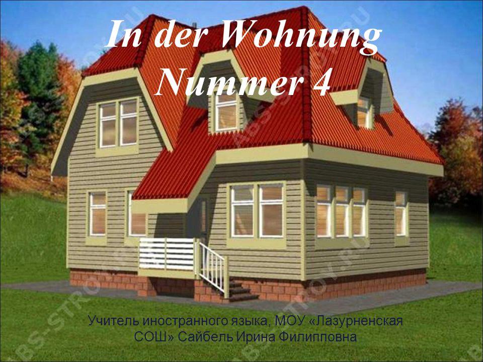 In der Wohnung Nummer 4 In der Wohnung sehen wir: Viele M…, ein Kl…, Einen Fern…, Com…, Leselampe für die M….