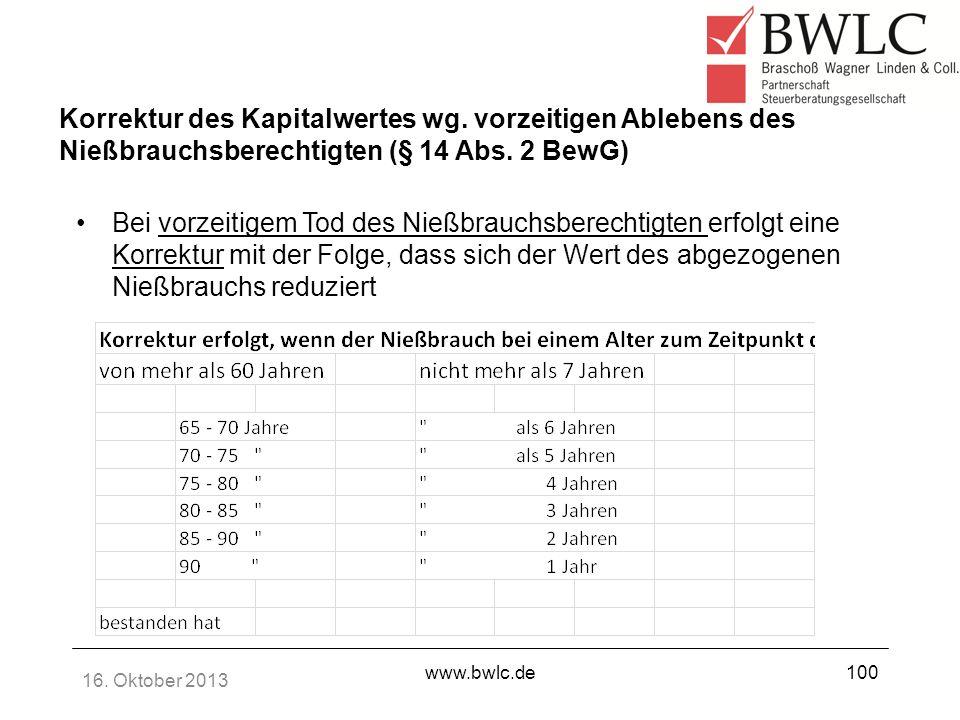 16. Oktober 2013 www.bwlc.de100 Korrektur des Kapitalwertes wg. vorzeitigen Ablebens des Nießbrauchsberechtigten (§ 14 Abs. 2 BewG) Bei vorzeitigem To