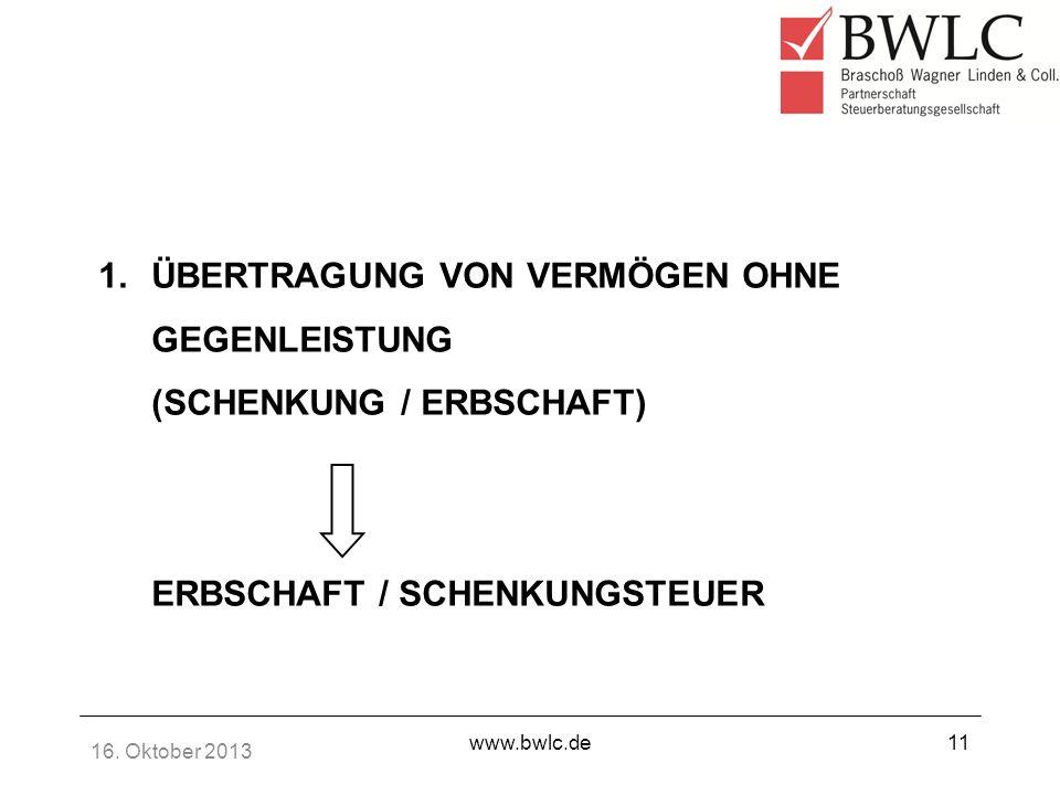 16. Oktober 2013 www.bwlc.de11 1.ÜBERTRAGUNG VON VERMÖGEN OHNE GEGENLEISTUNG (SCHENKUNG / ERBSCHAFT) ERBSCHAFT / SCHENKUNGSTEUER