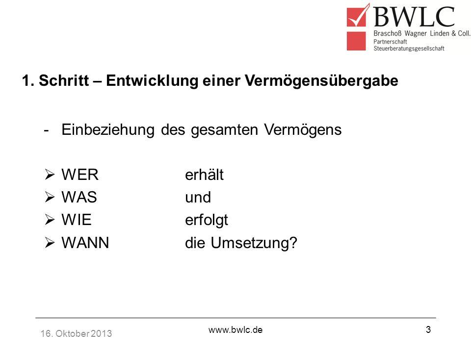 16. Oktober 2013 www.bwlc.de3 1. Schritt – Entwicklung einer Vermögensübergabe -Einbeziehung des gesamten Vermögens WER erhält WASund WIEerfolgt WANNd