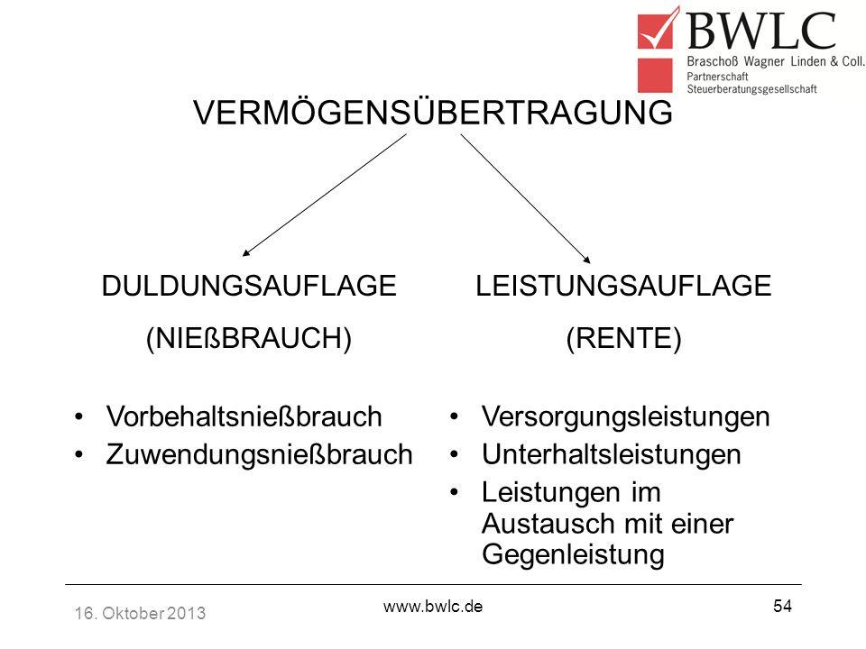 16. Oktober 2013 www.bwlc.de54 VERMÖGENSÜBERTRAGUNG Vorbehaltsnießbrauch Zuwendungsnießbrauch Versorgungsleistungen Unterhaltsleistungen Leistungen im