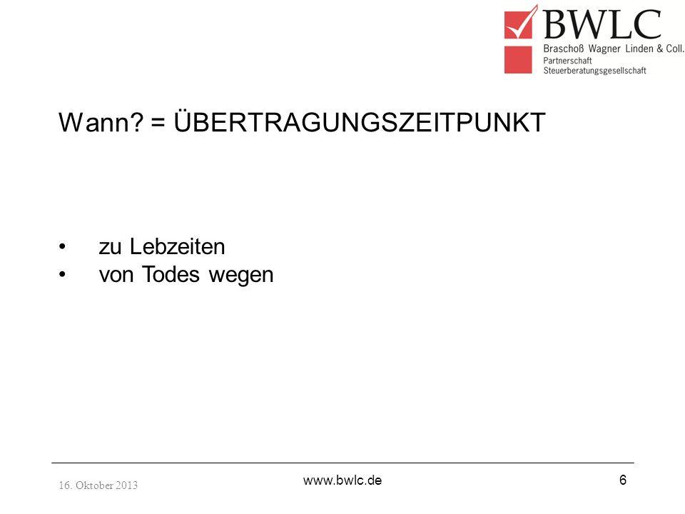 16.Oktober 2013 www.bwlc.de17 Steuerlich vereinfachtes Ertragswertverfahren 1.