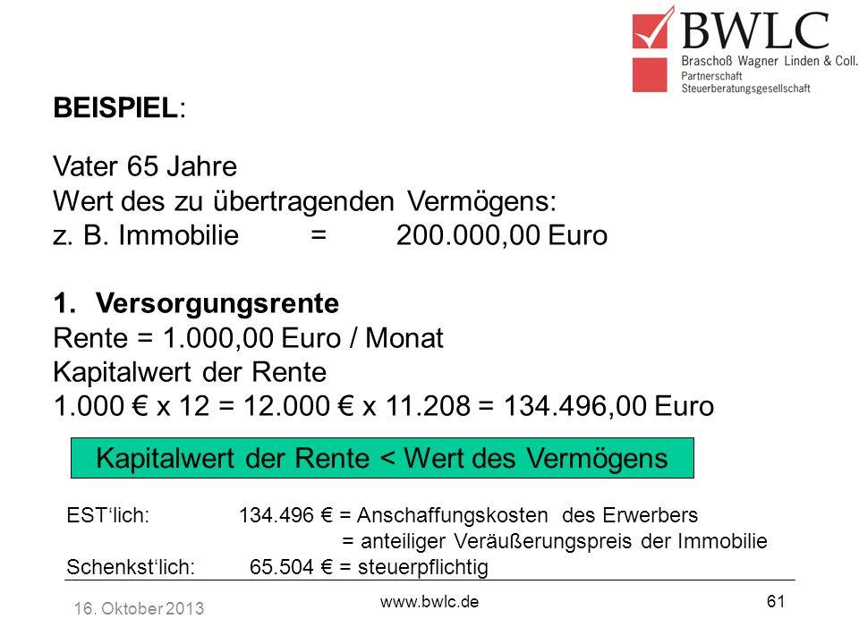 16. Oktober 2013 www.bwlc.de61 BEISPIEL: Vater 65 Jahre Wert des zu übertragenden Vermögens: z. B. Immobilie=200.000,00 Euro 1.Versorgungsrente Rente