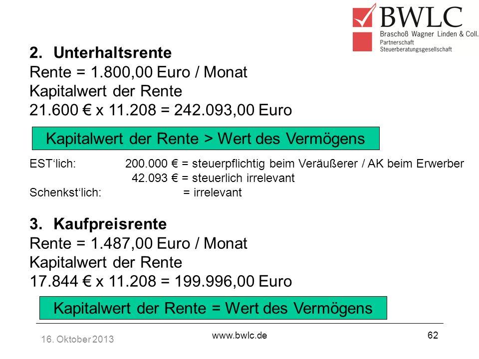 16. Oktober 2013 www.bwlc.de62 2.Unterhaltsrente Rente = 1.800,00 Euro / Monat Kapitalwert der Rente 21.600 x 11.208 = 242.093,00 Euro Kapitalwert der