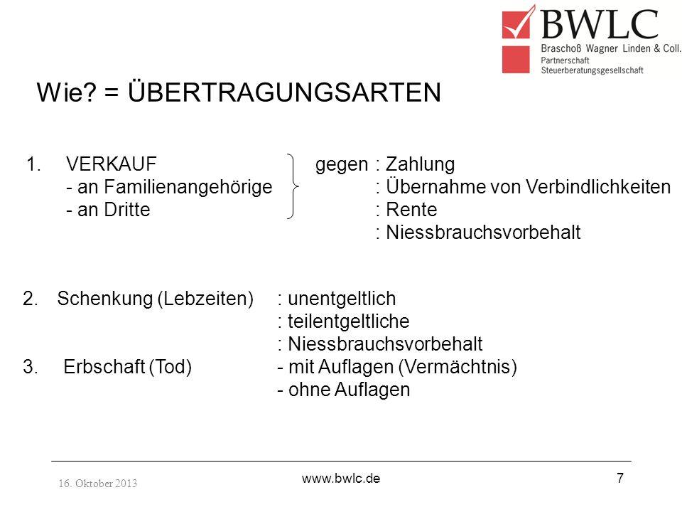 16. Oktober 2013 www.bwlc.de7 Wie? = ÜBERTRAGUNGSARTEN 1.VERKAUF - an Familienangehörige - an Dritte 2.Schenkung (Lebzeiten): unentgeltlich : teilentg