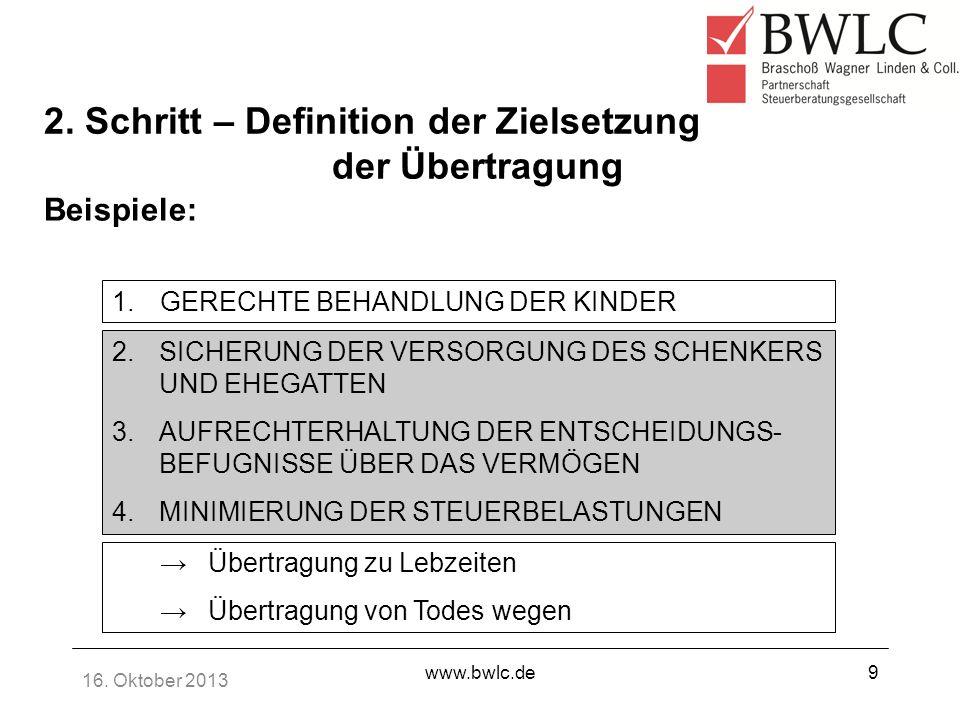 16. Oktober 2013 www.bwlc.de9 1.GERECHTE BEHANDLUNG DER KINDER 2. Schritt – Definition der Zielsetzung der Übertragung Beispiele: Übertragung zu Lebze