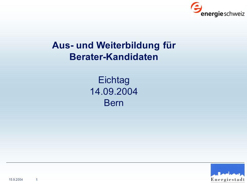 15.9.2004 12 Aus- und Weiterbildung für Berater-Kandidaten 2004 Bewertung 2004 Umsetzungsgrad Kapitel 1 (in %)