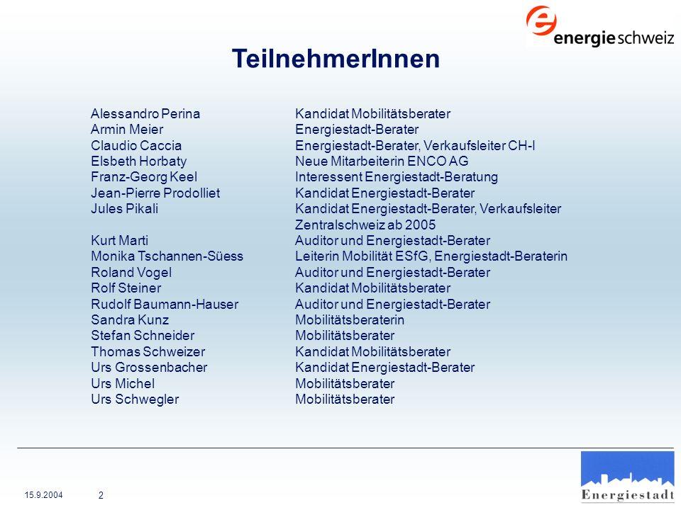 15.9.2004 3 Kontakt Sandra Kunz ENCO AG Wattwerkstrasse 1 4416 Bubendorf Tel.