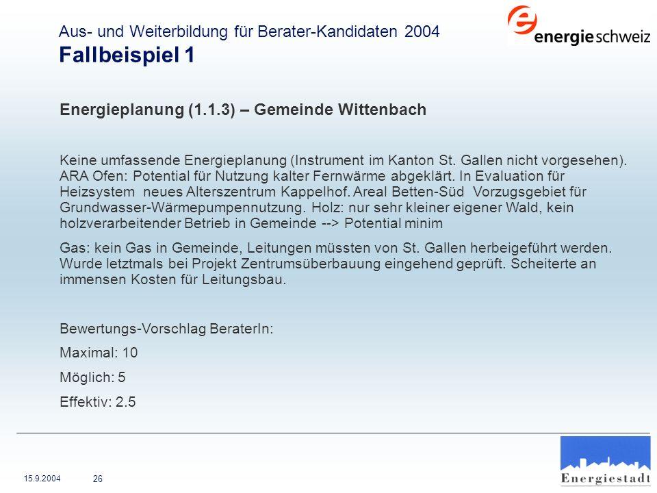 15.9.2004 26 Energieplanung (1.1.3) – Gemeinde Wittenbach Keine umfassende Energieplanung (Instrument im Kanton St. Gallen nicht vorgesehen). ARA Ofen