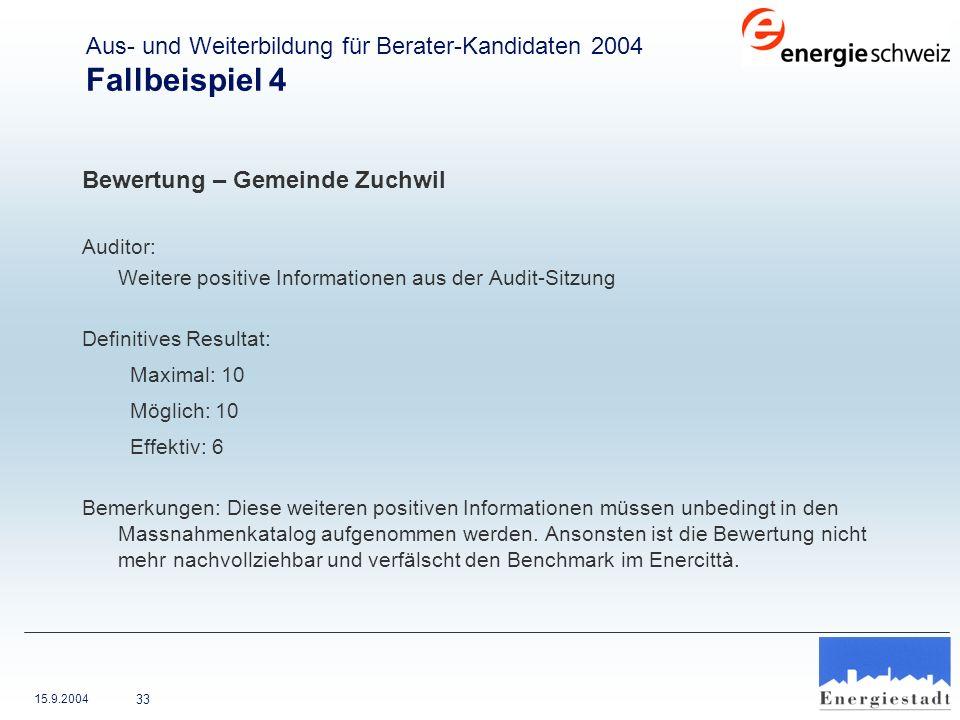 15.9.2004 33 Bewertung – Gemeinde Zuchwil Auditor: Weitere positive Informationen aus der Audit-Sitzung Definitives Resultat: Maximal: 10 Möglich: 10