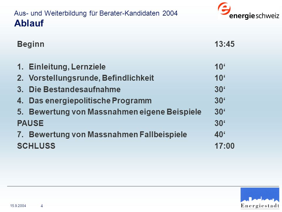 15.9.2004 4 Beginn13:45 1.Einleitung, Lernziele10 2.Vorstellungsrunde, Befindlichkeit 10 3.Die Bestandesaufnahme 30 4.Das energiepolitische Programm30
