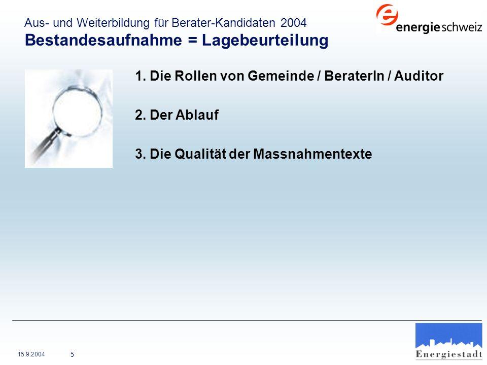 15.9.2004 26 Energieplanung (1.1.3) – Gemeinde Wittenbach Keine umfassende Energieplanung (Instrument im Kanton St.