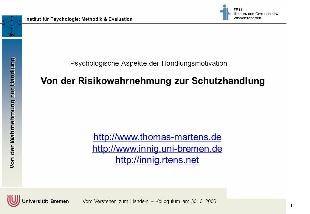 1 Klimaschutz fördern - vom Wissen zum Handeln - Bremer Akteure tauschen sich aus © Dr. Thomas Martens, 2003 Institut für Psychologie: Methodik & Eval