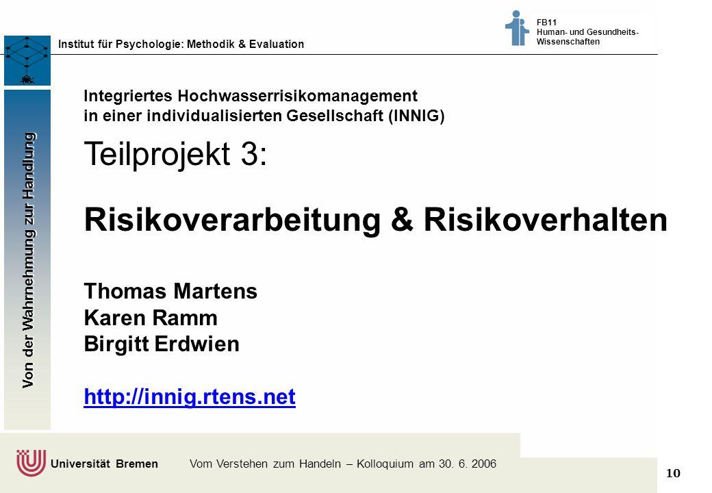 10 Klimaschutz fördern - vom Wissen zum Handeln - Bremer Akteure tauschen sich aus © Dr. Thomas Martens, 2003 Institut für Psychologie: Methodik & Eva