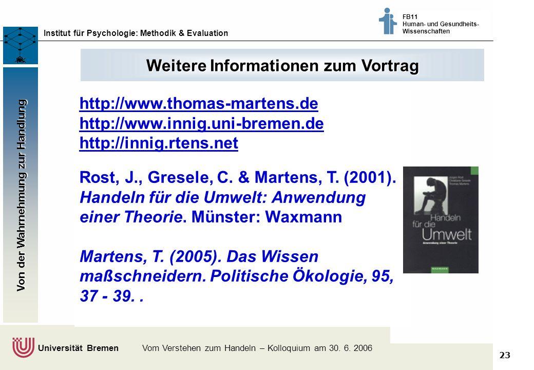23 Klimaschutz fördern - vom Wissen zum Handeln - Bremer Akteure tauschen sich aus © Dr. Thomas Martens, 2003 Institut für Psychologie: Methodik & Eva