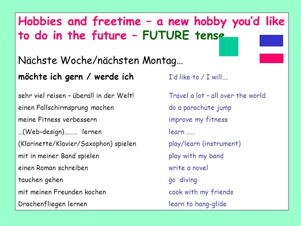 Letzte Woche – last week Letzten Monat – last month Letzten Dienstag – last Tuesday Letzten Sommer- last summer Letztes Wochenende – last weekend Gest