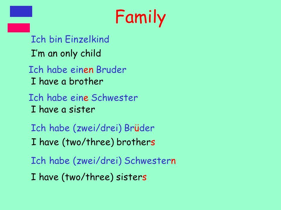 Family Ich bin Einzelkind Ich habe einen Bruder Ich habe eine Schwester Ich habe (zwei/drei) Brüder Ich habe (zwei/drei) Schwestern I have a sister Im an only child I have (two/three) brothers I have (two/three) sisters I have a brother