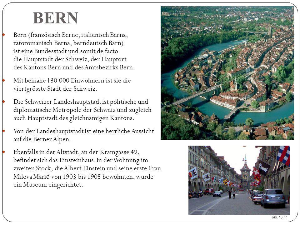 BERN Bern (französisch Berne, italienisch Berna, rätoromanisch Berna, berndeutsch Bärn) ist eine Bundesstadt und somit de facto die Hauptstadt der Schweiz, der Hauptort des Kantons Bern und des Amtsbezirks Bern.