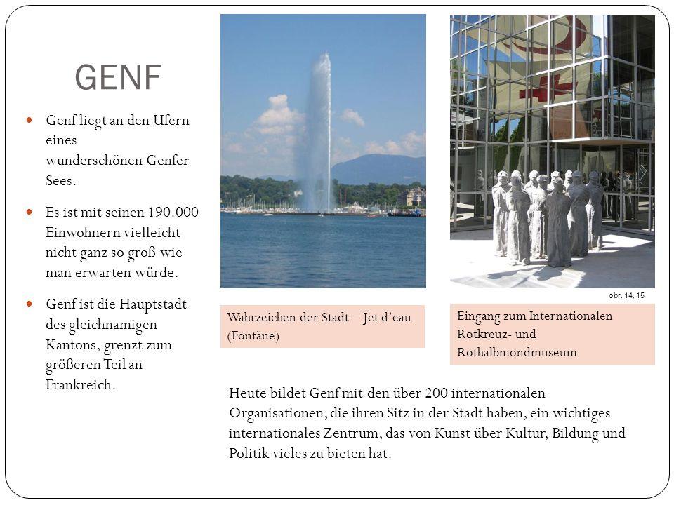 GENF Genf liegt an den Ufern eines wunderschönen Genfer Sees.