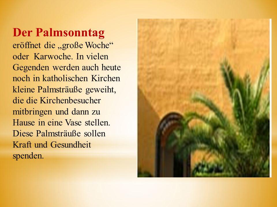 Der Palmsonntag eröffnet die große Woche oder Karwoche. In vielen Gegenden werden auch heute noch in katholischen Kirchen kleine Palmsträuße geweiht,