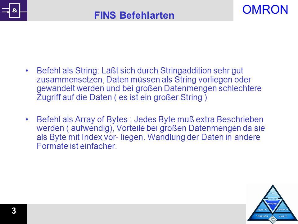 OMRON 3 FINS Befehlarten Befehl als String: Läßt sich durch Stringaddition sehr gut zusammensetzen, Daten müssen als String vorliegen oder gewandelt w