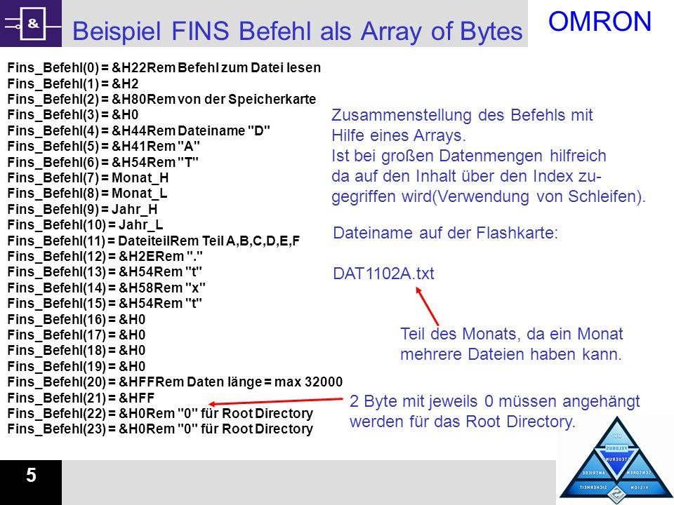 OMRON 6 Beispiel FINS Befehl als Array of Bytes Rem FINS Befehl zur SPS schicken Fins_Antwort = Comms1.RawFINS(Fins_Befehl, NeueSPS1 , AsArrayOfBytes) Rem überprüfen ob der Befehl richtig ausgeführt wird Fehlercode = Hex(Fins_Antwort(3)) If Fehlercode = 0 Or Fehlercode = 11 Then For Count = 14 To UBound(Fins_Antwort) Step 10 Befehle senden und Auswerten was für ein Fehlercode kommt.
