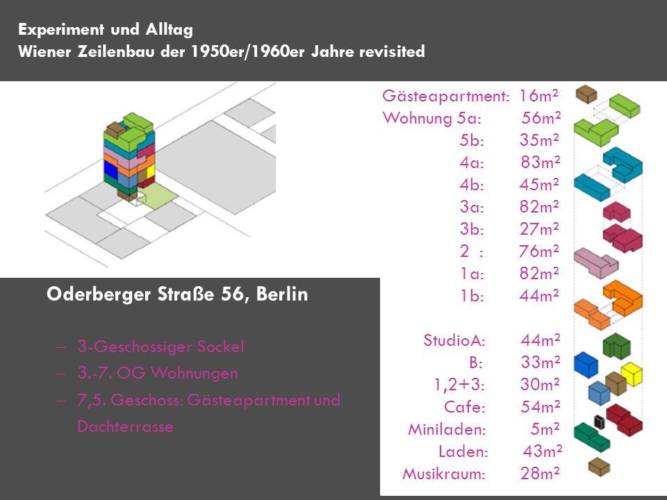 3-Geschossiger Sockel 3.-7. OG Wohnungen 7,5. Geschoss: Gästeapartment und Dachterrasse Experiment und Alltag Wiener Zeilenbau der 1950er/1960er Jahre