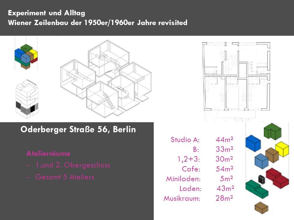 Atelierräume 1.und 2. Obergeschoss Gesamt 5 Ateliers Experiment und Alltag Wiener Zeilenbau der 1950er/1960er Jahre revisited Oderberger Straße 56, Be