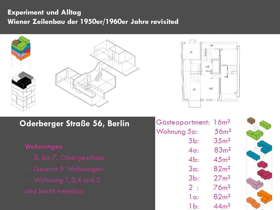 Wohnungen 3. bis 7. Obergeschoss Gesamt 5 Wohnungen Wohnung 1,3,4 und 5 sind leicht trennbar Experiment und Alltag Wiener Zeilenbau der 1950er/1960er