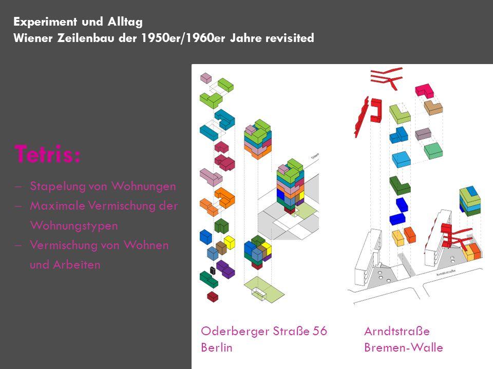 Experiment und Alltag Wiener Zeilenbau der 1950er/1960er Jahre revisited Oderberger Straße 56 Berlin Arndtstraße Bremen-Walle Tetris: Stapelung von Wo