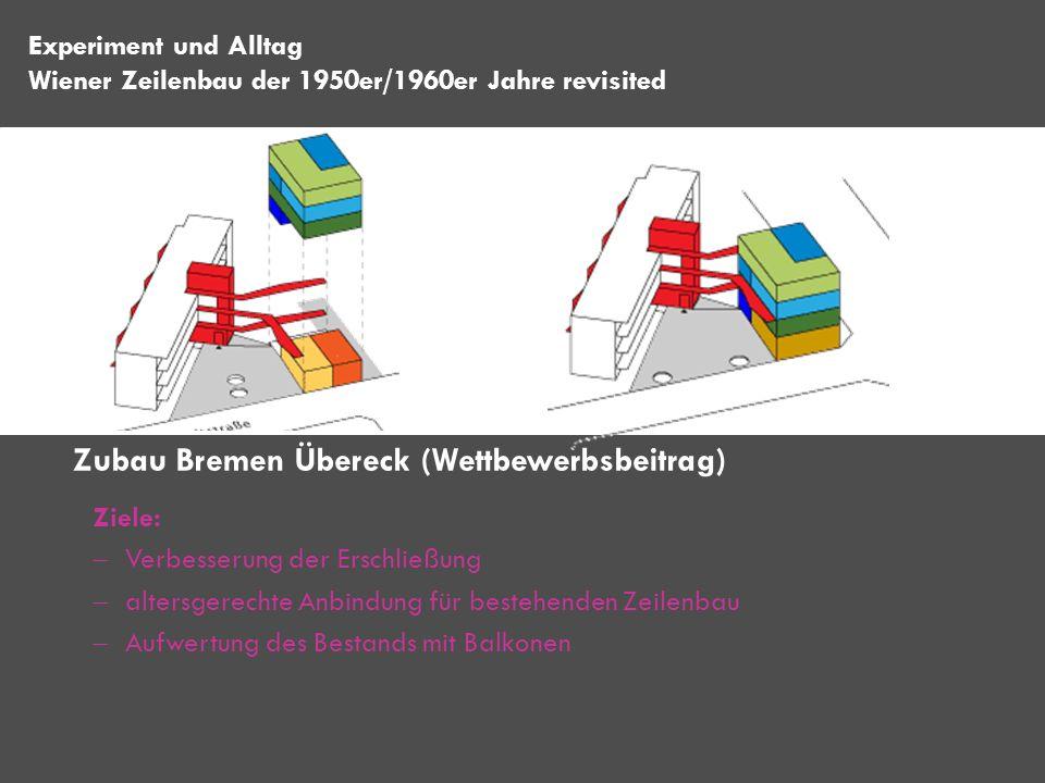 Ziele: Verbesserung der Erschließung altersgerechte Anbindung für bestehenden Zeilenbau Aufwertung des Bestands mit Balkonen Zubau Bremen Übereck (Wet