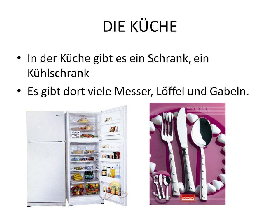DIE KÜCHE In der Küche gibt es ein Schrank, ein Kühlschrank Es gibt dort viele Messer, Löffel und Gabeln.