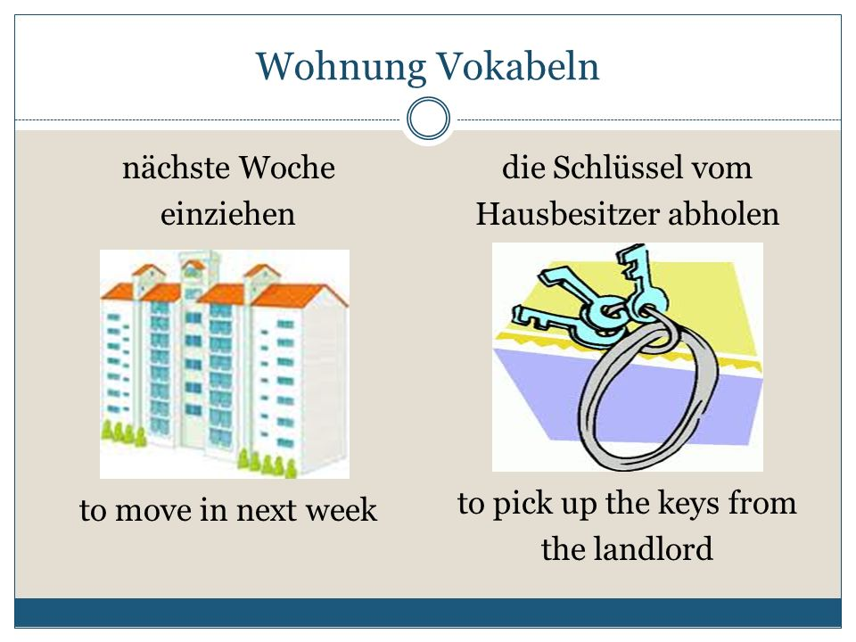 Wohnung Vokabeln nächste Woche einziehen die Schlüssel vom Hausbesitzer abholen to move in next week to pick up the keys from the landlord